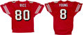 Football Collectibles:Uniforms, Circa 1990 Steve Young and Jerry Rice Signed San Francisco 49ers Jerseys Lot of 2 - From Walsh Collection....