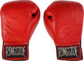 Boxing Collectibles:Memorabilia, 1989 Tommy Morrison Fight Worn Gloves from Brown Bout....