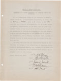 Autographs:Others, 1929 George Wright Signed Document. ...