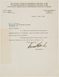 Autographs:Letters, 1921 Kenesaw Mountain Landis Signed Typed Letter....