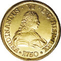 Chile: , Chile: Ferdinand VI gold 8 Escudos 1750-J, Bust right/Crownedshield, KM3, Fr-5, lustrous AU-UNC with lightly porous surfaces.Anot...