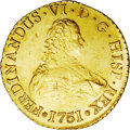 Chile: , Chile: Ferdinand VI gold 8 Escudos 1751-J, Bust right/Crownedshield, KM3, Fr-5, UNC with moderate surface marks and the normalpor...