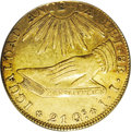 Chile: , Chile: Republic gold 8 Escudos 1836-IJ, KM93, XF45 PCGS, a nicelytoned, original example of the hand on book type....