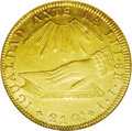 Chile: , Chile: Republic gold 8 Escudos 1838IJ, Hand on Book/Arms, KM93,Fr-37, AU53 NGC. Nicely struck for the issue with some remaininglu...