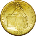 Chile: , Chile: Republic gold 8 Escudos 1842IJ, Liberty standing ataltar/Arms, KM104.1, Fr-41, MS61 NGC. Sharply struck and lustrouswith a...