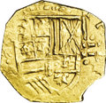 Colombia: , Colombia: Philip IV gold 2 cob Escudos ND (1621-65) NR-A, KM4,Fr-2, 6.79 gm, XF. The N is not visible, but the R of the mintmarkis b...