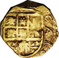 Colombia: , Colombia: Charles II Posthumous gold cob 2 Escudos 1704, BogotaMint, KM-14.2, 6.72 gm, XF with full cross and shield. The date isful...