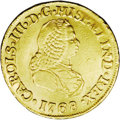 Colombia: , Colombia: Charles III gold 2 Escudos 1768 PN-J, Bust right/Crowned arms, KM36.2, Fr-28, polished VF with evidence of mount removal on ...