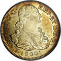 Colombia: , Colombia: Charles IV gold 8 Escudos 1800 P-JF, Bust right/Arms,KM62.2, Fr-52, AU55 PCGS. Lightly toned with full, sparking luster.On...