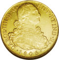 Colombia: , Colombia: Charles IV gold 8 Escudos 1805 P-JT, Bust right/Arms,KM62.1, Fr-52, AU58 NGC. Nice luster with a decent strike and nomenti...