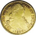 Colombia: , Colombia: Ferdinand VII gold 8 Escudos 1820 NR/P-JF, Bust right/Arms, KM66.1, Fr-60, lustrous VF. A very interesting variety with the ...