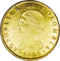 Colombia: , Colombia: Republic of Colombia gold 8 Escudos 1825-JF Bogota,KM82.1, XF-AU, cleaned and with a noticeable light planchetlamination i...