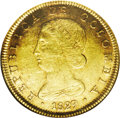 Colombia: , Colombia: Republic of Colombia gold 8 Escudos 1829-RS Bogota,KM82.1, AU50 NGC, a very attractive coin with an appealing blend oflust...
