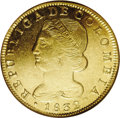 Colombia: , Colombia: Republic of Colombia gold 8 Escudos 1832-UR, PopayanMint, Bust left/Crossed bow & arrows on fasces, KM82.2, Fr-68,AU55 NGC...