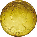 Colombia: , Colombia: Republic of Colombia gold 8 Escudos 1834-UR, Popayan,Bust left/Crossed bow & arrows on fasces, KM82.2, Fr-68, AU55NGC. Tra...
