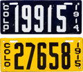 Transportation:Automobilia, Two Early Colorado Porcelain License Plates In ExceptionalCondition: 1914 & 1915... (Total: 2 Items)