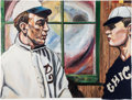 Baseball Collectibles:Others, Addie Joss And Ed Walsh Original Oil Painting....