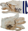 Baseball Collectibles:Hats, 1985 Wade Boggs Game Worn Batting Gloves With Player Letter. ...