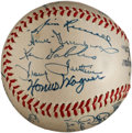 Autographs:Baseballs, 1947 Pittsburgh Pirates Team Signed Baseball with Honus Wagner,PSA/DNA NM-MT 8....