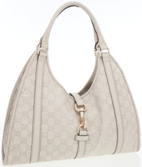Gucci Bone Guccissima Embossed Monogram Leather Large Bardot Bag with Light Gold Hardware