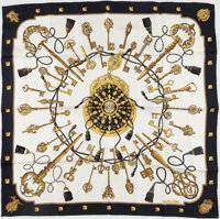 "Hermes White, Black & Gold ""Les Clefs,"" by Caty Latham Silk Scarf"