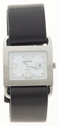 Luxury Accessories:Accessories, Hermes Stainless Steel Barenia Watch with Black Barenia LeatherStrap. ...