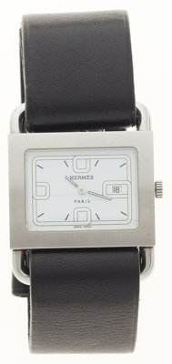 Hermes Stainless Steel Barenia Watch with Black Barenia Leather Strap