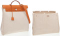 Luxury Accessories:Bags, Hermes Vache Naturelle Leather & Sand Canvas Herbag MM ShoulderBag. ...