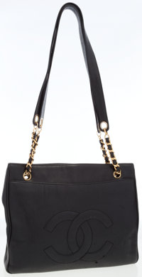 Chanel Black Caviar Leather Shoulder Bag with CC Motif