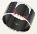 Luxury Accessories:Accessories, Hermes 65mm Extra Wide Black, Tan, Blue & Red Enamel Banglewith Palladium Hardware. ...