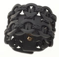 Luxury Accessories:Accessories, Gucci Black Leather Braided Thick Cuff Bracelet. ...