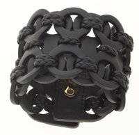 Gucci Black Leather Braided Thick Cuff Bracelet
