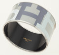 Luxury Accessories:Accessories, Hermes White, Gray & Blue 65mm Extra Wide Enamel Bangle withPalladium Hardware. ...