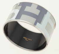 Hermes White, Gray & Blue 65mm Extra Wide Enamel Bangle with Palladium Hardware