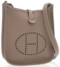 Hermes Etoupe Epsom Leather Evelyne TPM Crossbody Bag