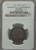 1783 1C Washington & Independence Cent, Large Military Bust VF25 NGC. NGC Census: (4/82). PCGS Population (11/217)...