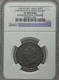 1783 1C Washington & Independence Cent, Draped Bust, No Button Brown -- Environmental Damage -- NGC Details. VF. NGC...