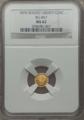 California Fractional Gold: , 1870 25C Goofy Head Round 25 Cents, BG-867, R.4, MS62 NGC. NGCCensus: (7/6). PCGS Population (15/25). ...