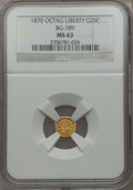 California Fractional Gold: , 1870 25C Goofy Head Octagonal 25 Cents, BG-789, R.4, MS63 NGC. NGCCensus: (3/3). PCGS Population (17/13). ...