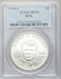 Modern Issues: , 1998-S $1 Robert F. Kennedy Silver Dollar MS70 PCGS. PCGSPopulation (244). NGC Census: (798). Numismedia Wsl. Price for p...