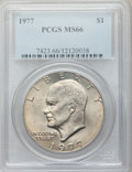Eisenhower Dollars: , 1977 $1 MS66 PCGS. PCGS Population (813/14). NGC Census: (296/8). Mintage: 12,596,000. Numismedia Wsl. Price for problem fr...