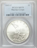 Modern Issues, 2005-P $1 Marine Corps MS70 PCGS. PCGS Population (998). NGC Census: (6478). Numismedia Wsl. Price for problem free NGC/PC...
