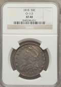 Bust Half Dollars: , 1818 50C XF40 NGC. O-113. NGC Census: (63/464). PCGS Population(106/506). Mintage: 1,960,322. Numismedia Wsl. Price for p...