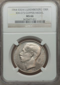 Luxembourg, Luxembourg: Jean Essai 100 Francs in copper nickel 1964 MS66NGC,...