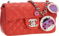 Chanel Limited Edition Red Quilted Lambskin Leather Mini Flap Bag with Ladybug Chain Strap Very Good to Excelle