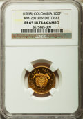 Colombia, Colombia: Republic Proof Reverse Die Trial of 100 Pesos in aluminum bronze (1968) PR65 Ultra Cameo NGC....