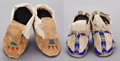 American Indian Art:Beadwork and Quillwork, TWO PAIRS OF PLAINS BEADED HIDE MOCCASINS... (Total: 4 )