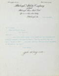 Autographs:Letters, 1911 Honus Wagner Signed Typed Letter....