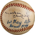Autographs:Baseballs, 1973 Nestor Chylak Single Signed Baseball....