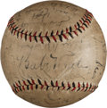 Autographs:Baseballs, 1930 Babe Ruth, Lou Gehrig, Other HOFers Multi Signed Baseball....